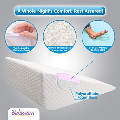 Bed Wedge Pillow | Unique Curved Design for Multi Position Use | Additional Outer Cover Included | Memory Foam Wedge Pillow for Sleeping | Reliefs Back, Leg and Knee Pain, Acid Reflux n' More (Large)