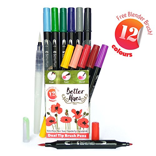 better-hues-presents-12-vibrant-watercolor-double-tip-brush-pens-with-long-lasting-non-toxic-colors-