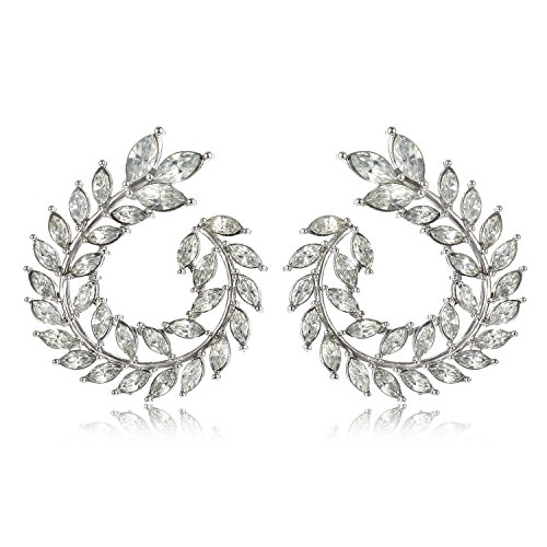 - White Round Stud Earrings Olive Branch Leaf Shape Elegant Unique Fashion Jewelry H1545A