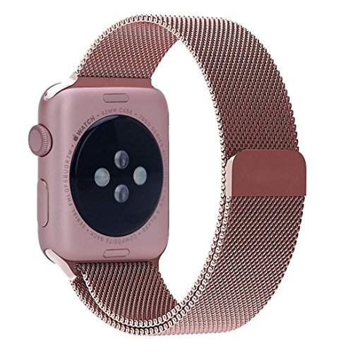 Apple Watchband, Perman Milanese Magnetic Loop Stainless Steel Watch Band Strap for Apple Watch 38mm Rose Gold