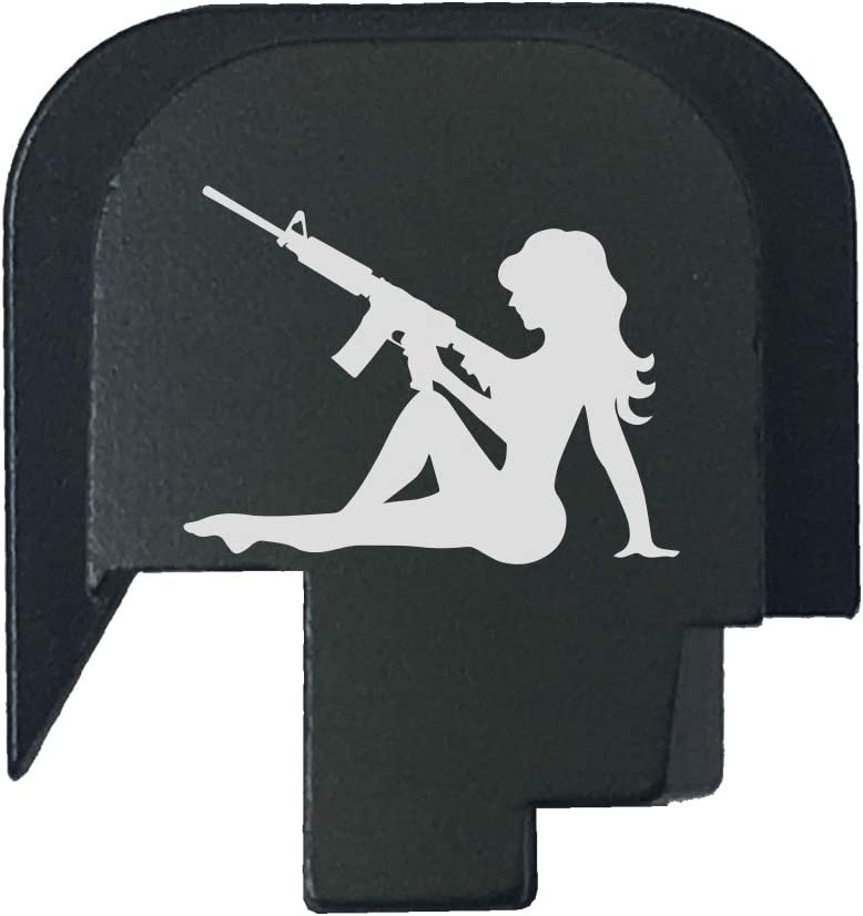 BASTION Laser Engraved Rear Cover Slide Back Plate for Smith & Wesson M&P 45 Shield SUBCOMPACT ONLY - Trucker Girl with Gn