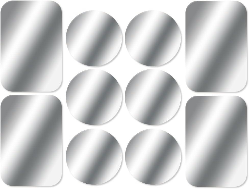 AJOXEL [10 Piezas láminas Metálicas (6 Redondas y 4 rectangulares) con Adhesivos Muy Finas Reemplazo de Placas de Metal para Soporte Movil Coche Magnético/Soporte iman movil Coche - Plata