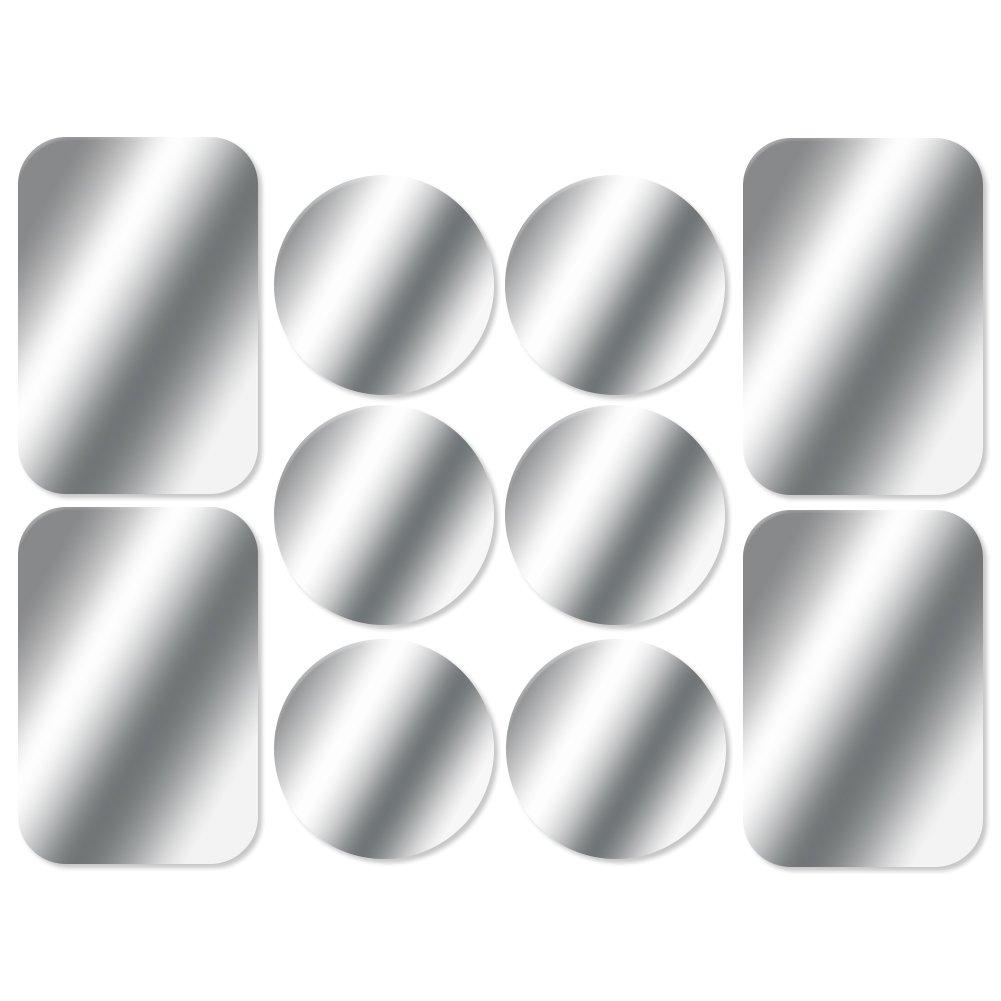AJOXEL [10 Stück Metallplatte Metallplättchen Selbstklebend Set (6 Runden+4 Rechteckig) mit 3M Klebefolie für Magnet KFZ Handyhalterung Sehr Dünn Ersatzplatten für Handy und Tablet– Schwarz