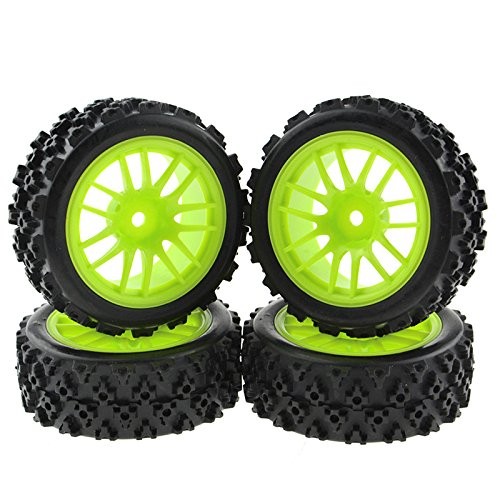 Rowiz 4 X Green RC 1:10 Scale Off-Road Tires Wheel Rims Hex 12MM Crossing Rubber