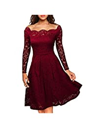 Anxihanee Women's Vintage Floral Lace Off Shoulder Wedding Cocktail Party Dress