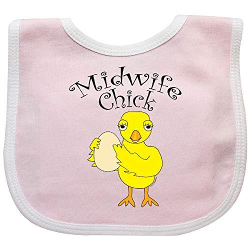 Inktastic - Midwife Chick Text Baby Bib Pink/White 2e72e