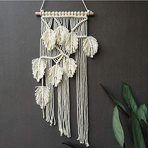 LSHCX Macrame Leaves Design Wall Hanging Home Décor Woven Handmade Tapestry, 15.7 x 29.5 Inches