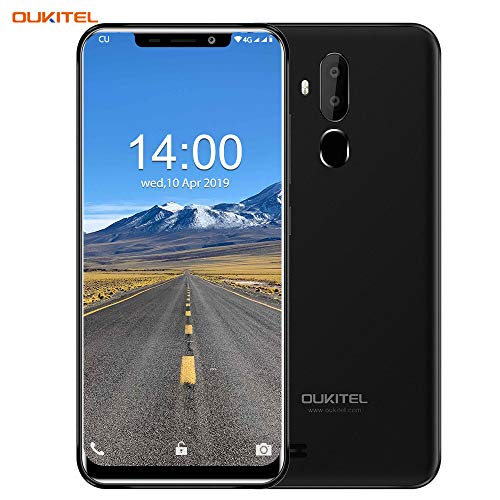 OUKITEL C12 (2019) Unlocked Smartphone Global 3G, 6.18''(19:9) Screen, 2GB +16GB, Android 8.1 OS, MT6580 Ouad-Core, 8MP+2MP Cameras, Dual Sim, Face Fingerprint Recognition Unlocked Cell Phones-Black