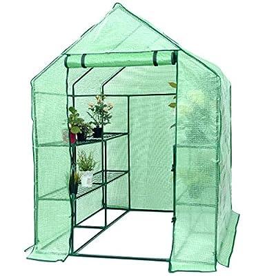 Superbuy Portable Greenhouse 8 Shelves Mini Walk In Outdoor Green House 2 Tier for Garden Patio Backyard