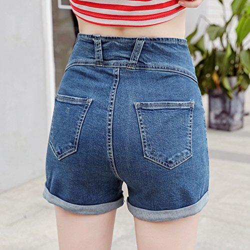 Blu Mini Jeans Stretch Tasch Moda Pants A Pantaloncini Hot Scuro Denim Dooxii Skinny Donna con Alta Casuale Vita wRvqfa1U