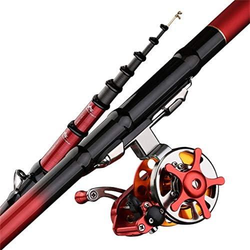 釣り竿YUSHRO 海釣り竿、沖合の波のボートの流れのためのカーボン望遠鏡手ポーランド人 (色 : Rod+wheel, サイズ : 450cm/177inches)