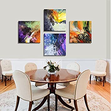 CANVASZON Abstract Wall Art Painting Abstract Home Decor Abstract Canvas Art for Living Room 16x16inchx4