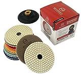 Diamond Polishing Pads 4'' inch Wet/Dry Set of 11 + 1 Rubber Backer Pad | For Granite & Concrete | Pack of 11 Polishing Pad ( Grit 50 - 6000# ) & 1 Rubber Backing Pad Arbor with Velcro 5/8'' 11
