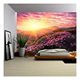 wall26 - Spring Landscape in Mountains with Flower of a Rhododendron and The Sky with Cloud - Removable Wall Mural | Self-Adhesive Large Wallpaper - 100x144 inches