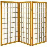 ORIENTAL FURNITURE 3 ft. Tall Window Pane Shoji Screen - Honey - 3 Panels