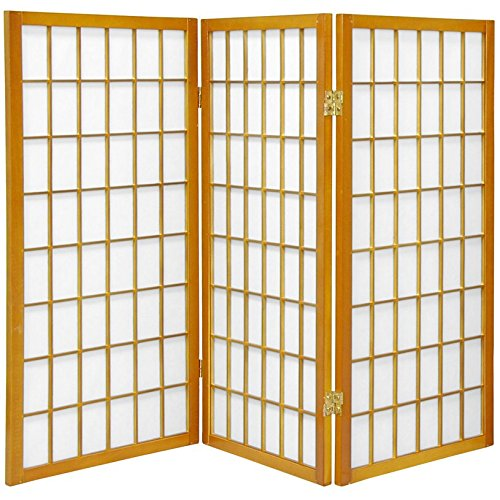 Oriental Furniture 3 ft. Tall Window Pane Shoji Screen - Honey - 3 - Partitions Hon Office