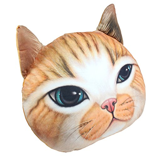 KOSBON 3D Cute Plush Cat Head Pillow Car Sofa Chair Back Cushion, Lovely Cat Face Shape Decorative Pillowcase as Christmaqs Halloween Gift (D Yellow - Head Cat Shapes