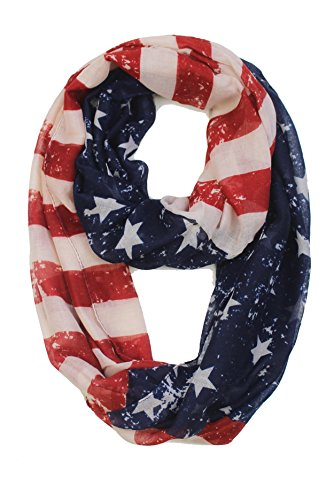 Feria Mode: American Flag Infinity Scarf (Red & Blue Stars 1, 70