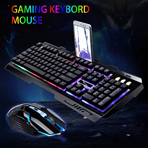 EEEKit Wired Keyboard Mouse Combo,Rainbow LED Backlight Gaming Keyboard and 2400 DPI 6 Buttons Optical Mouse Set for PC Laptop PS4-Black