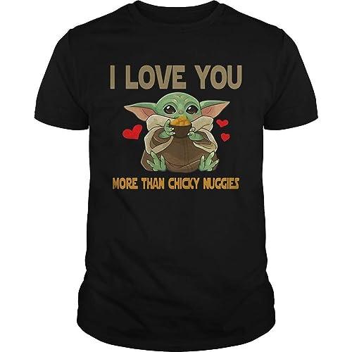 baby yoda shirt sweatshirt hoodie valentine gift valentine shirt funny shirt Baby Yoda I Love You More Than Chicky Nuggies Shirt