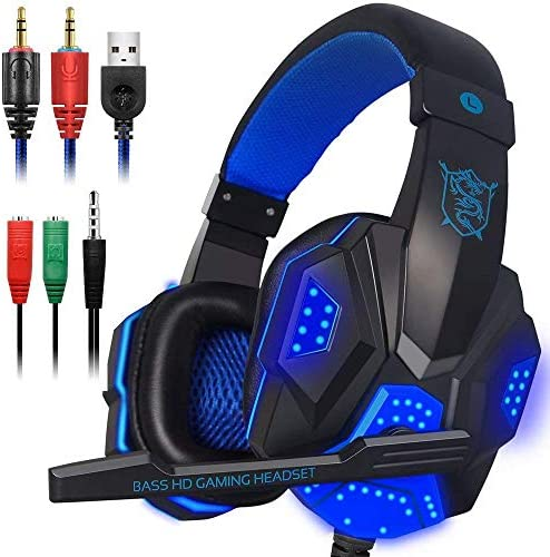 DELAMZ PC780 Gaming Headphones Wired Gamer Headset Stereo Sound Over Ear Earphone with Mic and LED Light for PC Laptop for PS4