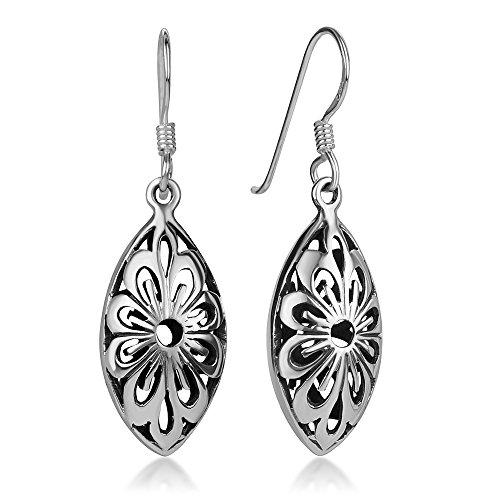 925 Sterling Silver Bali Inspired Open Filigree Flower Puffed Marquise Shape Dangle Earrings ()