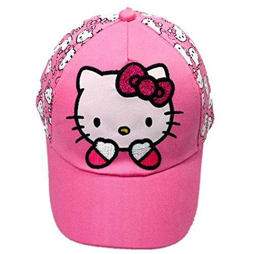 Hello Kitty Pure Cotton Sun Cap for Children, Children's Hat Baseball Cap, Peaked Cap (Pink) ()