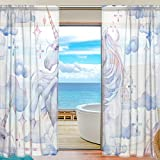 DEYYA Mythology Unicorn Horse Bedroom Sheer Panels – Artificial Polyester Sheer Curtains/Drapes W55 X L78 for Bedroom Pack of 2 Panels Review