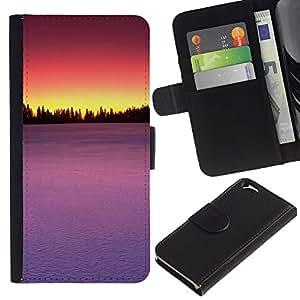 KLONGSHOP // Tirón de la caja Cartera de cuero con ranuras para tarjetas - Sunset Beautiful Nature 85 - Apple Iphone 6 //