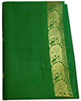 Sari Vert Émeraude brocart doré mode d'emploi et bindis compris vêtement traditionnel indien