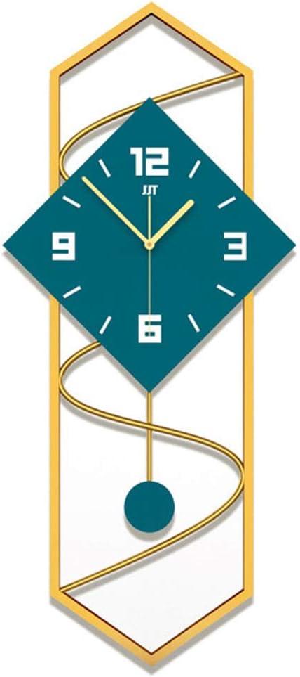 BOYH Cuadrado Péndulo Reloj De Pared Moderno Grande Silencioso Reloj con Péndulo Madera Sólida Mando Grande Reloj De La Sala De Estar-Azul 30X70cm(12X28inch)
