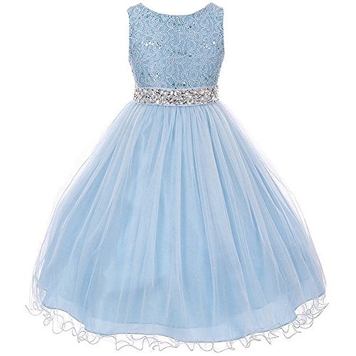 CrunchyCucumber Big Girls Sleeveless Dress Glitters Sequined Bodice Double Layer Tulle Skirt Rhinestones Sash Flower Girl Dress Blue - Size 12 (Light Blue Girls Pageant Dress)