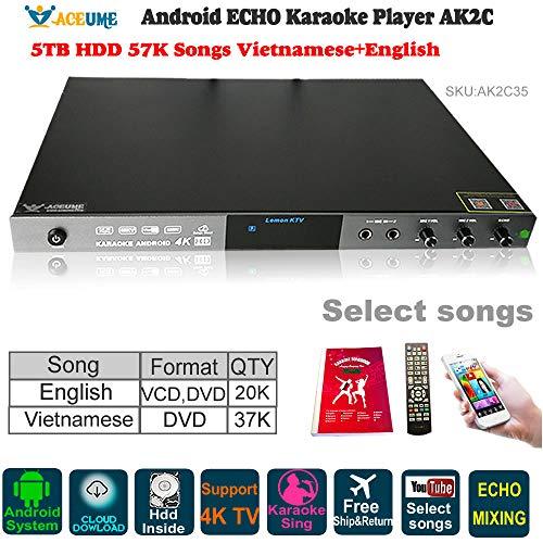- 5TB HDD 57K Vietnamese,English Songs AK2C Android Karaoke Jukebox/Player Cloud download.Microphone Port,ECHO Mixing, Watch TV,KODI,YouTube Songs Sing
