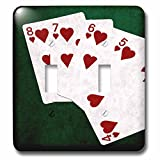 3dRose Alexis Photo-Art - Poker Hands - Poker Hands Straight Flush Hearts - Light Switch Covers - double toggle switch (lsp_270303_2)