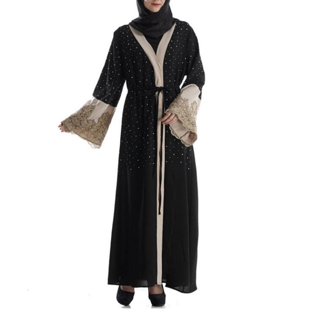 VIASA Muslim Women Islamic Embroidered Diamond Long Coat Middle East Long Robe (M, Black)