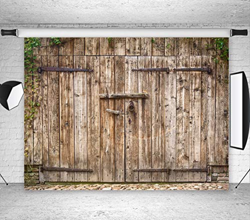 LB Rustic Barn Door Photography Backdrops 7x5ft Vinyl Customized Vintage Farmhouse backdrops Customized Newborn Baby Shower Birthday Party Photo Booth Backdrop Studio -