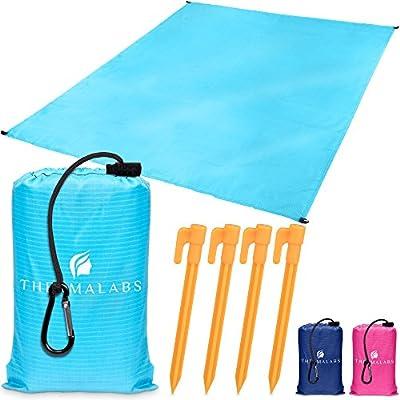 Manta de playa portátil azul, tapete impermeable para el parque ...