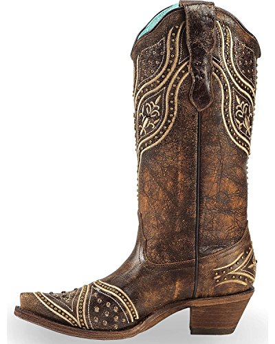 Toe Women's Snip Studded Honey Cowgirl Embroidery Boot CORRAL Honey E1274 7wxqT07