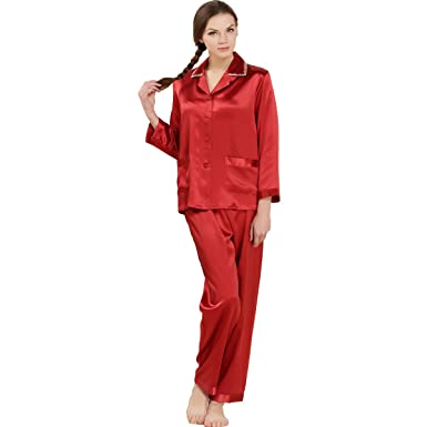 68a38e35ca LoveSilk Women s 19mm Pure Silk Pajamas Sleepwear Luxury PJs Gift at Amazon  Women s Clothing store