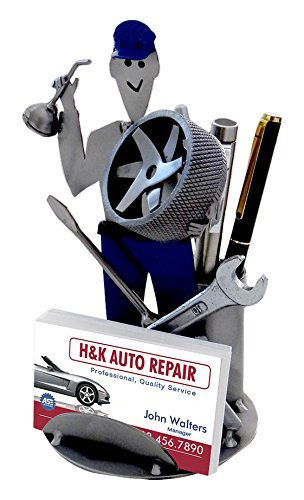 H & K Sculptures 6859BC Auto Mechanic Business Card Holder (Mechanic Files)