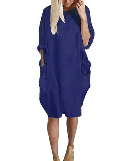 Sweetnight Womens Long Sleeve Casual Loose Pocket T Shirt Dress