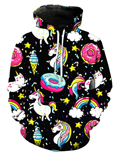 (KIDVOVOU Unicorn Hoodie for Kids Unisex 3D Digital Print Pullover)