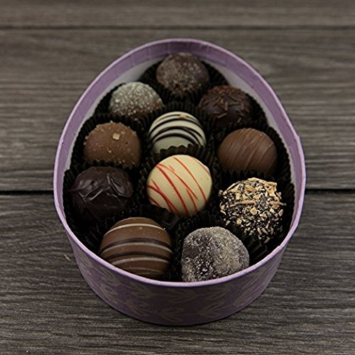 Milk Chocolate Champagne - Easter Egg Truffle Box - Gourmet Chocolate Truffles - 11 Piece Assorted Flavor Truffles - by Sugar Plum Chocolates