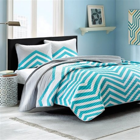 Intelligent Design Moxie Quilt Mini Set - Aqua - Twin