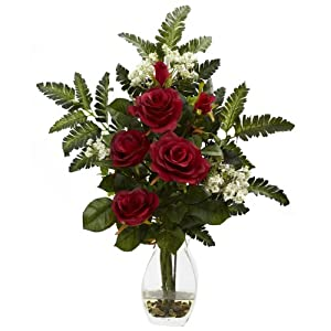 GREATHOPES Red Rose & Chryistam Artificial Flower Decorative Arrangement 97