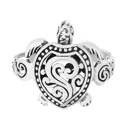 WILLOWBIRD Textured Sea Turtle Scrollwork Ring for Women in Oxidized 925 Sterling Silver (Size 8)