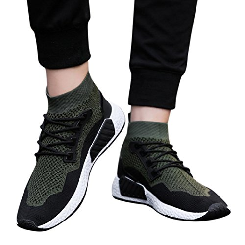 HLHN Men Running Shoes,Gym Lace-up High Top Sport Mesh Ankle Socks Shoes Breathable Casual Leisure Green
