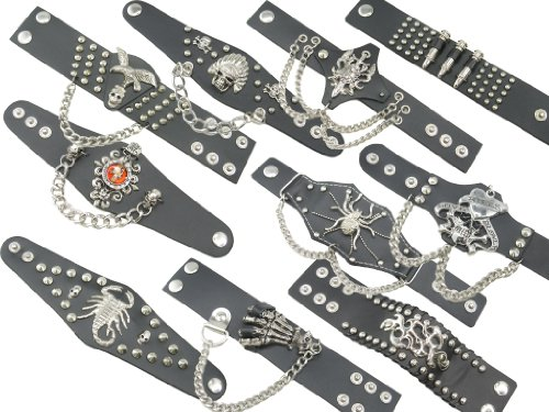 Wholesale Lot of Gothic Skull Scorpion Spider Leather Bracelets Wristbands Cuffs for (Skulls Wholesale)