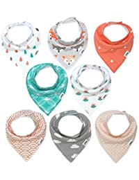 Baby Bandana Drool Bibs for Girls by Matimati, Super Absorbent & Chic Teething Bib Set