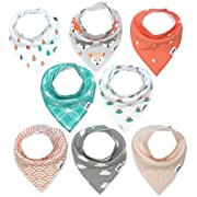Baby Bandana Drool Bibs for Girls by Matimati, Super Absorbent & Chic Teething Bib Set 8-Pack  Coral & Teal